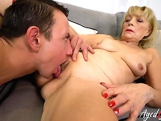 Amazing Granny Lady Got Cootchie Tongued And Fucked By Horny Youngster