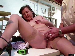 German Milf Mom In Stockings Seduce To Fuck Public