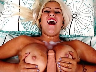 Juggy Ash-blonde Cougar Lu Elissa Takes Jizz Shots On Her Big Natural Tits With Sunburn Lines