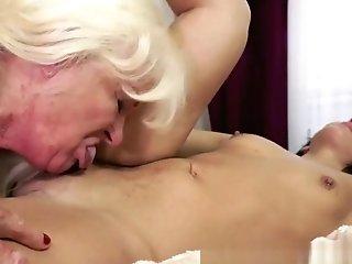 Lesbo Granny Fingerfucking A Youthful Beauty