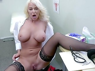 Buxom Nurse London Sea Masturbates In Her Office In The Hospital