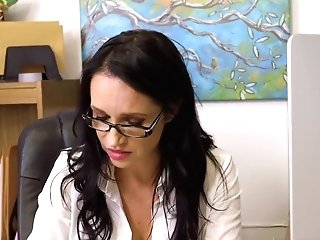 Matures Lewd Woman Office Fuckfest Scene Big-boobed Chief Gratitude Day With Angie Noir
