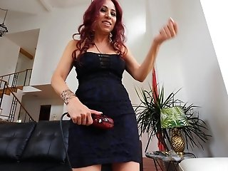 Red-haired Latina Mummy Claudia Plays With A Magic Wand On Her Jewel