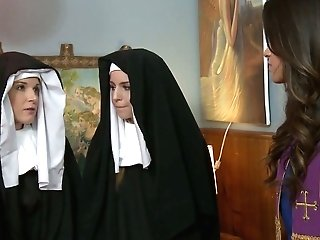 Sinful Nuns Get Nasty And Love Having First-ever Spunky Lezzie Hookup