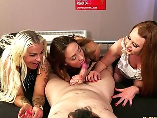 Luckiest Dude In The World Gets Deep Throated By Tory Jones And Two Other Damsels