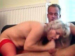 Tv Repairman Seduced By Big-chested Blonde Horny Grandmother
