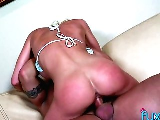 Bald Headed Dude Fucks Huge-chested Petite Blonde And Makes Her Twat Spread