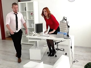 Sandy-haired Cougar Assistant Eva Berger Fucks Her Chief In The Office