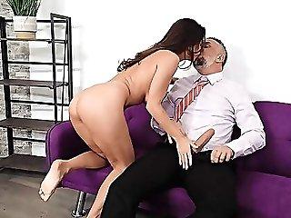 Dazzling Dark-haired Cougar In Crazy Xxx Couch Shag