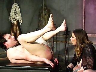 Intercourse-crazy Mistress Madeline Marlowe Fucks Dude's Bulls Eye With Belt Dick And Handball
