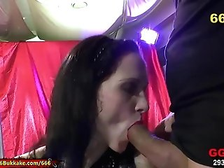 Pissed Dark-haired Like's Hard Pipe In Her Dirty Gash. For Sure Mass Ejaculation And Urinate Drinking Is Her Best 666bukkake