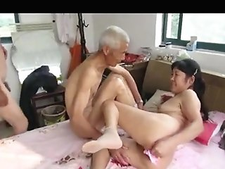 Asian Grand-pa Trio With Matures Woman