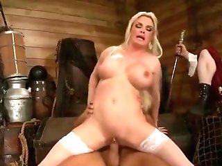 Godlike Fair-haired English Mom Diamond Foxxx In Tempting Sexy Stockings In Public
