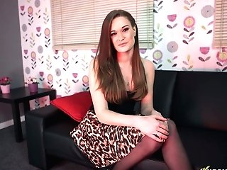 Cougar In Leopard Print Mini-skirt Honour May Shows Off Her Nasty Twat