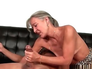 Matures Granny Tugging Trouser Snake On Couch