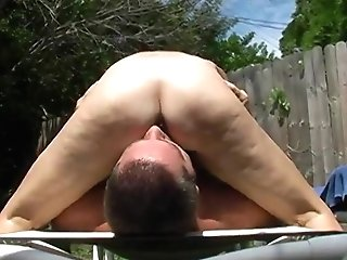 Hairy Matures Throning Outside