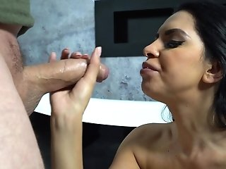 Russian Black-haired With Big Natural Breasts Kira Queen Gives A Blow-job And Breast Fucking
