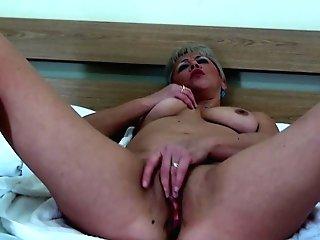 Wails As Brief Hair Blonde Smash Her Honeypot Using Big Tool