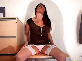 Filthy Assistant Shelly Shows Her Milky Undies Upskirt