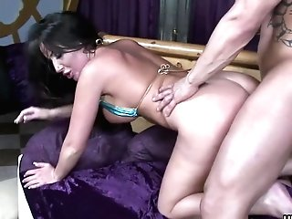 Beef Whistle Greedy Black-haired Honey Drinks Her Mans Fat Cane And Leans Her Big Rump