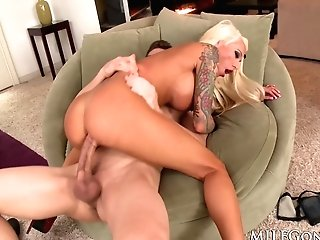Tattooed Cougar Lolly Ink Fucks A Big Dick