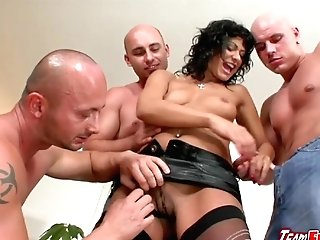 Horny Brown-haired Tera Joy  Gets Smooched And Touched By Three Guys