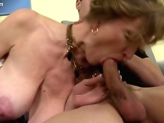 Mummy Saggy Tits Blows Two Guys