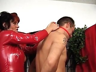 Leathery Mistress In Crimson Takes Manage Over Her Servant
