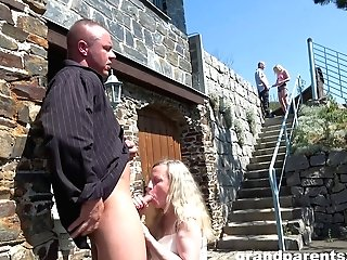 Dirty Outdoors Group Bang-out Inbetween A Youthfull And An Old Duo