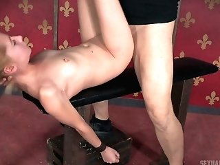 Mistress With Strap-on Fucks Jaws And Twat Of Tied Up Whore Odette Delacroix