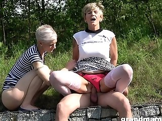 Two Blonde Chicks Eventually Get To Share A Lengthy Pecker Outdoors