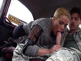 Sexy Cherry Smooch Fucks Horny Soldier In Her Cab
