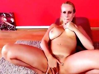 Big-chested Blonde Mummy Masturbates