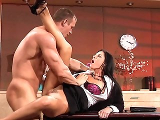 Trampy Black-haired Mummy Missionary Style Fucked On The Table