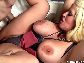Buxomy Cougar Alura Jenson Entices A Man For A Good Fuck