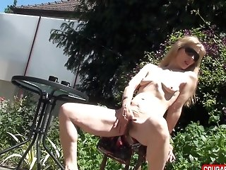 In The Morning Fine Doris Dawn Shows Her Assets On The Terrace