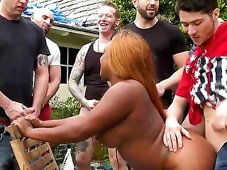 Wbony Whore Fucked In Excellent Modes By A Group Of Masculines
