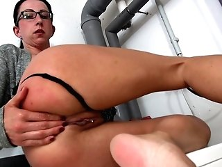 Nerdy Black-haired Stella H. Salivates On Her Honeypot To Get It Nice And Raw