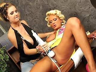 Matures Chicks Carol Goldnerova And Sharon Pink Playing With Each Other