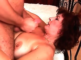 Granny With Big Tits And Hairy Labia Gets Facial Cumshot