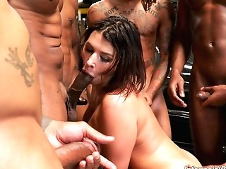 Cravings Come True For Lovely Dark-haired Ivy Lebelle After This Group Sex