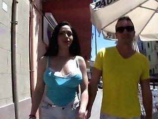 Bootyful Chick With Yummy Jugs Marta La Croft Gets Her Twat Boned In Public