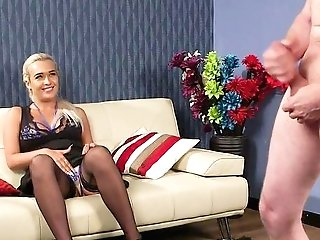 This Blonde Mega-slut Wants To Wiggle The Boy's Man Rod While Still Clothed