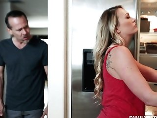 Dude Fucks Bootylicious Stepdaughter Adira Allure In Front Of Sleeping Wifey