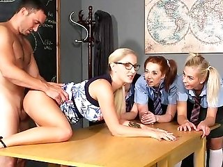 Clothed Females Are Ready To Share Some Decent Manhood