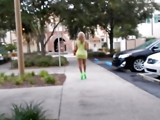 Sofia Streetwalking In Neon High-heeled Slippers
