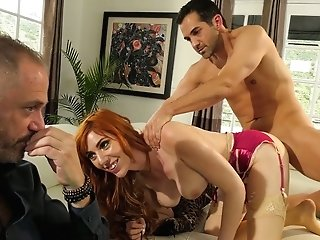 Crimson Haired Wifey Lauren Phillips Is Fucked By Neighbor In Front Of Cheating Spouse