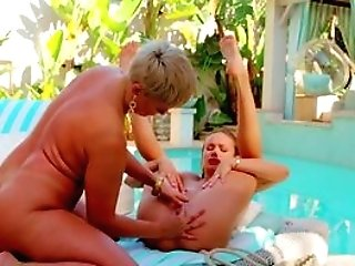 Matures Plays Sultry On Youthful Honey's Soft Gash