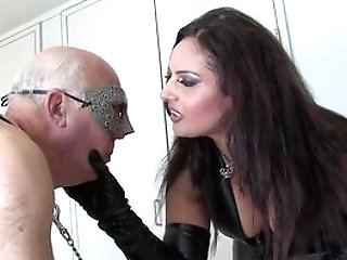 Matures In Leather Attire, Rough Fuck-a-thon On Her Senior Sub