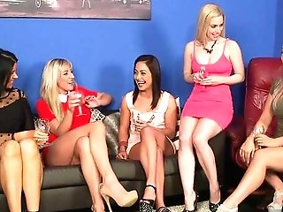Bitches Share The Fat Dong In Crazy Cfnm Group Scenes